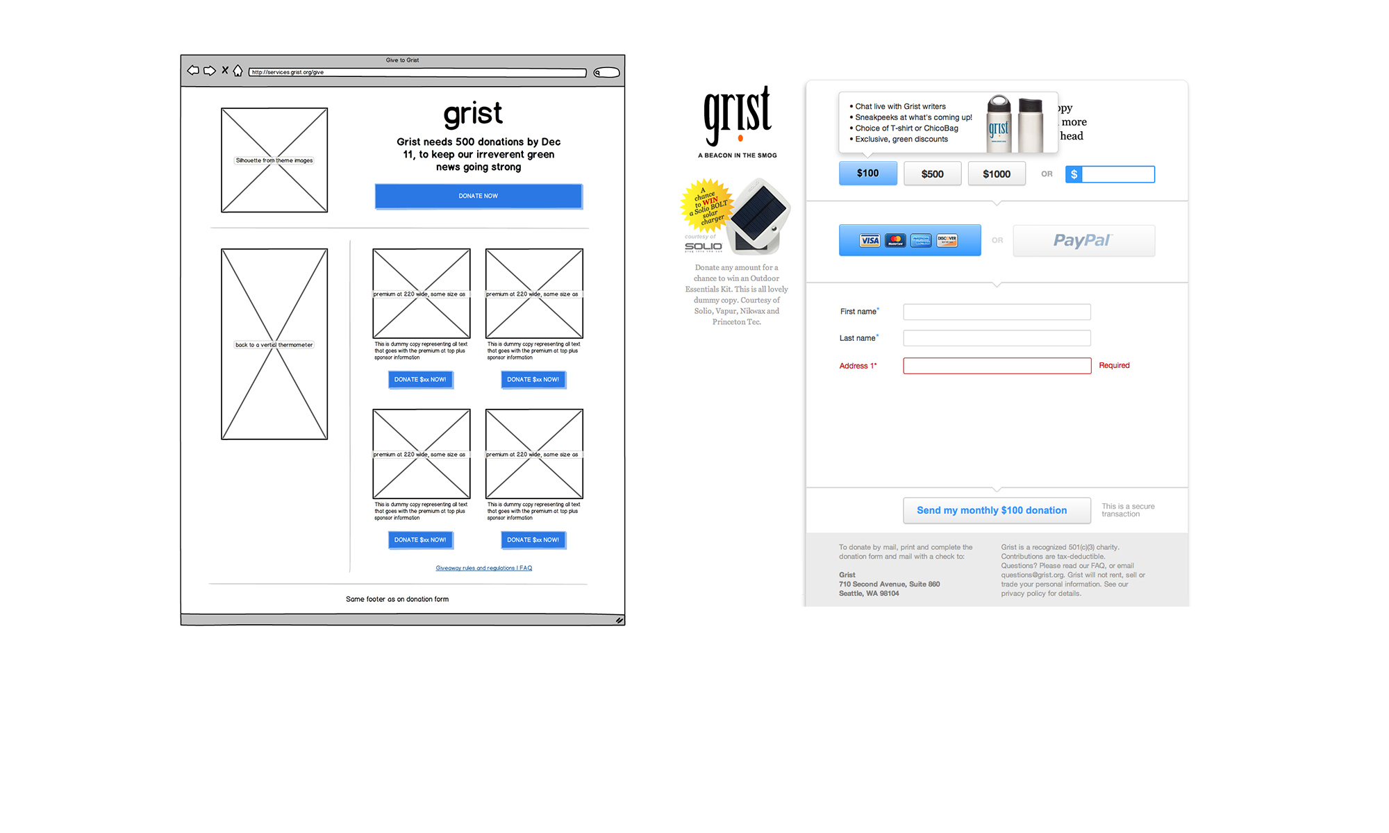 Wireframing donation page