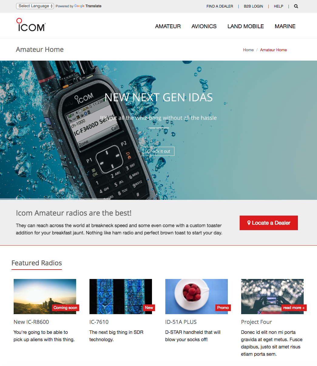 icom proposed division landing page